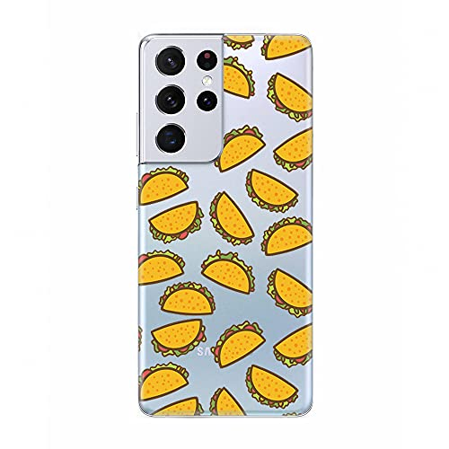Samsung Galaxy S21 Ultra Case,Blingy's Fun Food Style Transparent Clear Soft TPU Protective Case Compatible for Samsung Galaxy S21 Ultra (Taco Style)