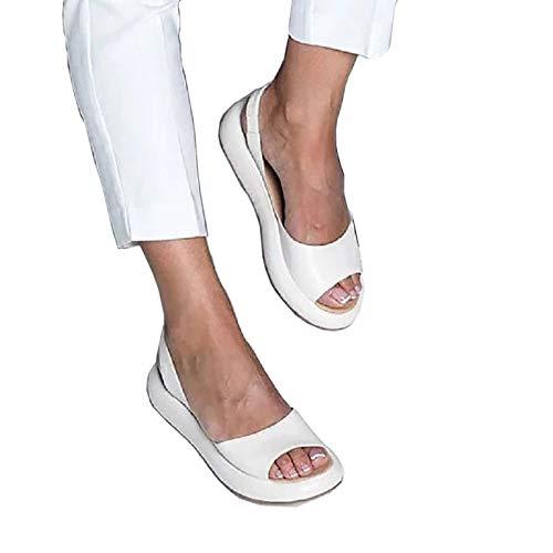 Sandalias para caminar para mujer, sandalias de damas tacón de cuña de tacón de punta abierta chanclas para verano diario de ropa con hebilla ajustable,Blanco,38 EU