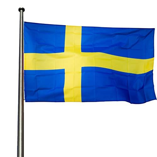 KliKil Schwedenflagge, widerstandsfähig, für den Außenbereich, 90 x 150 cm, 1 Flagge Schweden – Banner, Farben resistent für den Außenbereich – Swedish Flag 150 x 90 cm verstärkt