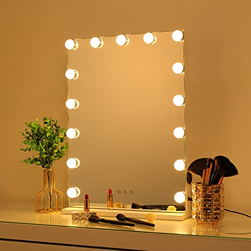 DAYU Hollywood Spiegel mit Beleuchtung Kosmetikspiegel Schminkspiegel Theaterspiegel mit Licht 3 Farbtemperatur für Wohnzimmer, 15 dimmbare LED Lampen, Weiß