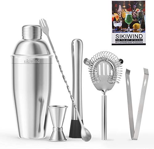 Scra AC Cocktail Making Set, Stainless Steel Martini, Mixing Spoon, Muddler, Measuring Jigger, Liquor Pourers with Dust Caps and Manual of Recipes, Professional Bar Tools