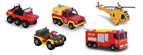 Dickie - Sam le Pompier - 5 Pièces Giftpack - Coffret Cadeau 5 Véhicules en Métal - 203094002038