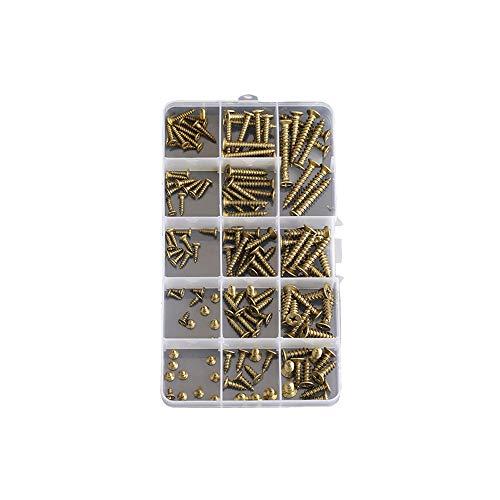 WhyTin Juego de 140 tornillos de madera amarillos M3 M4 M5 de latón Phillips de cabeza plana