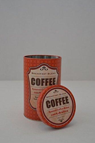 Kaffeedose Metalldose Aufbewahrungsbox mit Deckel rund 'COFFEE' Metall Print rot
