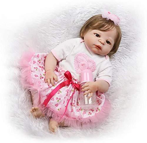 ZXYMUU Reborn Baby Doll Souple Simulation Silicone Vinyle 55Cm Enfant Ami Magnétique Bouche Réaliste Garçon Fille Yeux Ouverts Avec Tenue