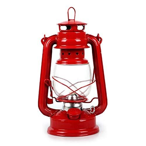 weichuang Lámpara de huracán de ahorro de energía retro clásica lámpara de queroseno regulables, linterna portátil para acampar, decoración (color: rojo)