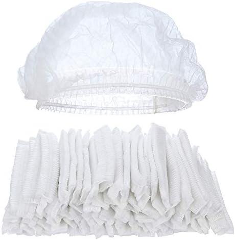 Tvoip 100Pcs 19 Disposable Cap Hair Net Cap Hair Hat Anti Dust Net Bouffant Cap Non Woven Head product image