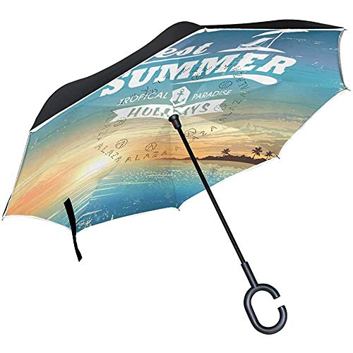 Elxf Sombrillas Reversibles invertidas para la Lluvia del Sol Hola bienvenidas Vacaciones de Verano Sombrillas Reversibles Ocean Beach para Uso en Exteriores con manija en Forma de C