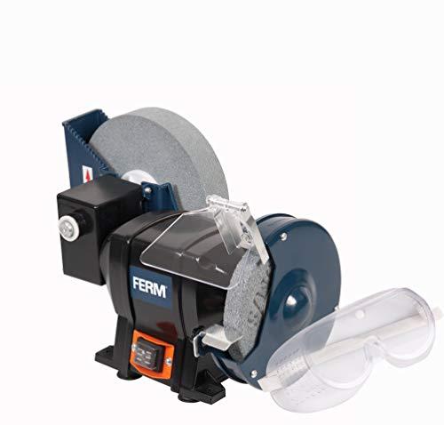 FERM BGM1021 Nat- en Droogslijpmachine - Tafelslijpmachine 250W - 150mm - inclusief P80 (Nat) en P36 (Droog) Slijpsteen, Veiligheidsbril en Vonkenvanger