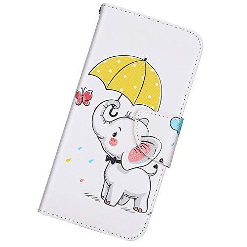Urhause PU Leder Hülle Kompatibel mit Samsung Galaxy Note 10 Pro,Gemalt Wallet Flip Schutzhülle mit [Kartenslots][Magnetverschluss] Ständer Funktion Handyhülle,Regenschirm-Symbol