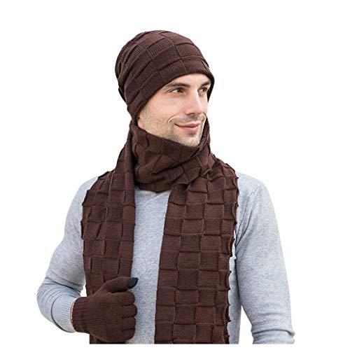 Azruma 3 PCs Männer Winter Warme Strickmütze Hut + Schal & Touchscreen Handschuhe Set für Herren Beanie Warme Mütze Strickmütze Winterschal Hut & Schal 2 PCs