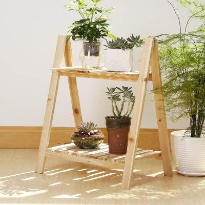 Decoratie-verkoopstandaard voor thuis, 2-laags, massief hout, bloem, helf, meerlaags hout, bloempot, bloempot van hout, antiek wit, ladder, opvouwbaar, balkon (kleur: bruin) Houtkleur.