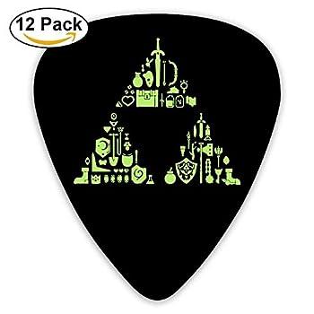 Celluloid Guitar Picks Bass Guitar Plectrums,print Zelda Triforce,12 Pack