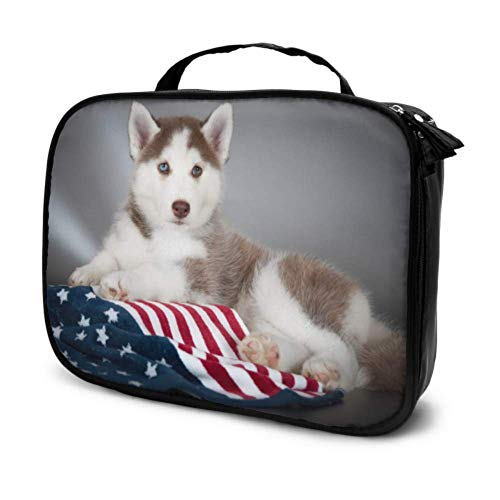 Dog Puppy Flag Combine Travel Girly Makeup Case A Cosmetic Bag Toiletry Bag for Women Multifunction Printed Pouch for Women
