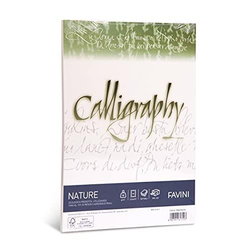 Favini Calligraphy Nature Alga 90 gr/m2 formato A4 50 fogli ideali per Inviti Partecipazioni Diplomi Menù, Avorio, 21 x 29.7 cm