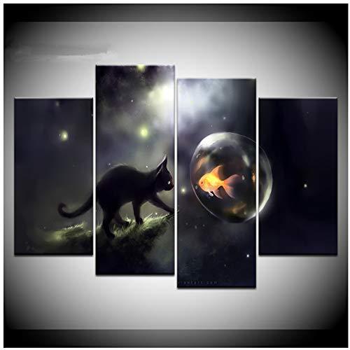 Jkkad Zwarte kat bellen goudvisschilderij wooncultuur canvas HD Print Poster Wandkunst Moderne abstracte vis schilderij-40x80 40x100 cm Geen lijst