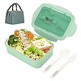 Aitsite Bento Box, Lunch Boxen Kinder, Brotdose Kinder, Lunchbox mit 3 Fächern und Besteck, Auslaufsichere Brotzeitbox Vesperdose für Mikrowellen und Spülmaschinen (Grün)