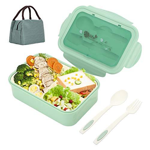 Aitsite Porta Pranzo Lunch Box con Posate(Forchetta e Cucchiaio),Scatole Bento con 3 Scomparti Bento Box Plastica 1400ml Microonde e Lavastoviglie - No BPA