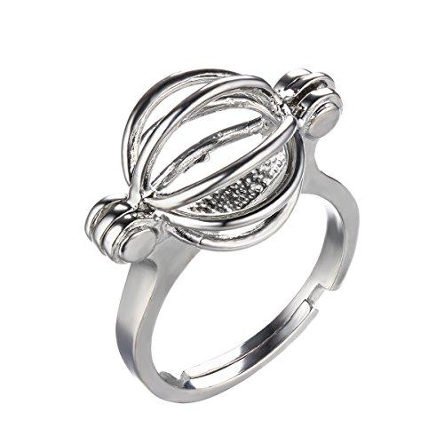 HENGSHENG Hollow Locket Lantern Shape Adjustable Ring Pearl Cage Ring Setting