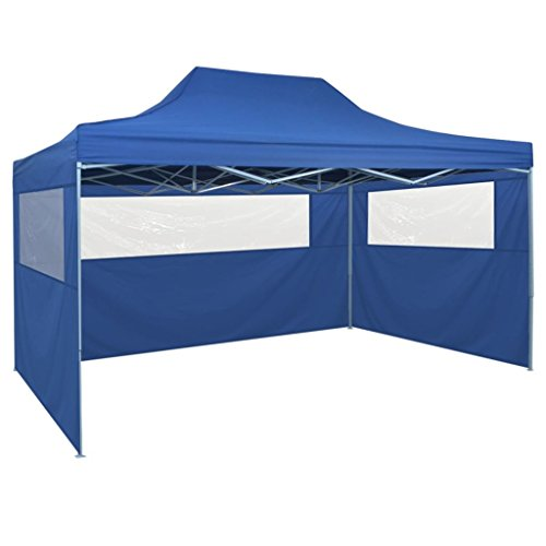 Festnight Awning Garden Party Tent Canop Pop-Up Marquee with 4 Side Walls 3x4.5 m Blue