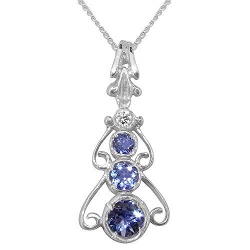 Sterling Silver Genuine Natural Tanzanite & Diamond Womens Bohemian Pendant & Chain Necklace - Chain length 22