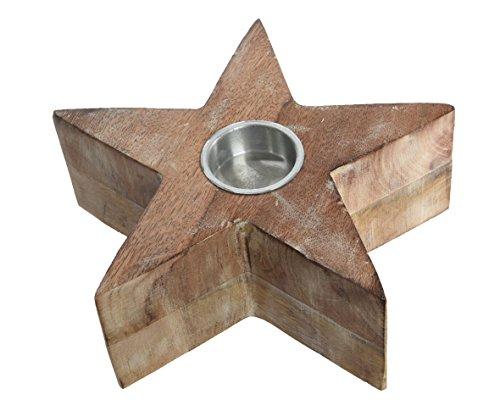 Kaemingk Kerstster Thee Licht Kaars Houder, Mango hout 11cm