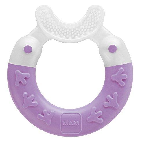 MAM Beißring Bite & Brush, Baby Zahnungshilfe beruhigt das Zahnfleisch, unterstützt die Zahnpflege mit extra-weichen Borsten, pink, ab 3+ Monate