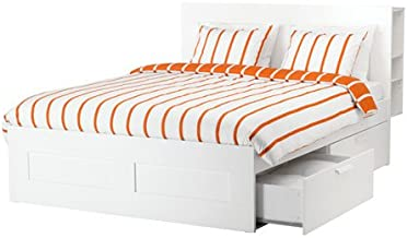 Ikea King size Bed frame with storage & headboard, white, Luröy 6386.82920.214