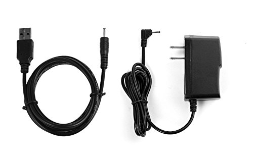 "NiceTQ Replacement Home Wall AC Power Adapter Charger + DC USB Charging Cable For RCA 10 VIKING PRO RCT6303W87 / RCT6303W87DK 10"" Tablet"