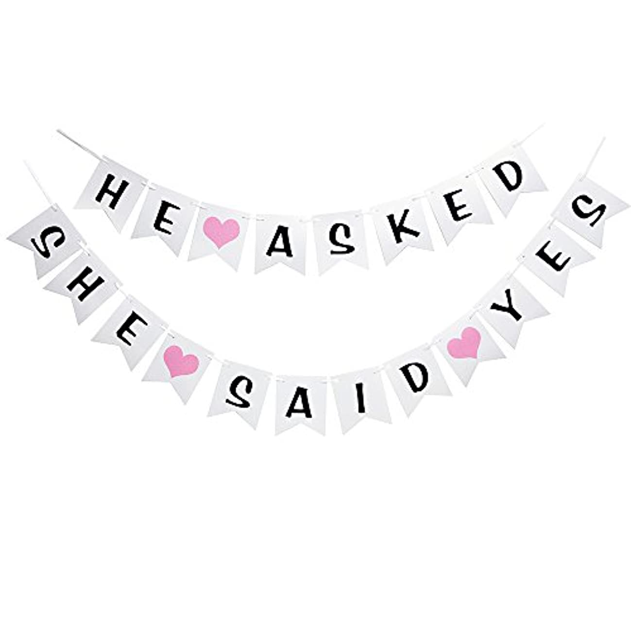 (Two )He Asked She Said Yes Banner- Hanging Pennant Party Banner Decorations Bachelorette Party Decorations - Engagement Party Decorations (white)
