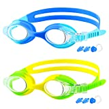 COOLOO Kids Goggles for Swimming for Age 3-15, 2 Pack Kids Swim Goggles with nose cover, No Leaking, Anti-Fog, Waterproof, Green+Yellow & Blue