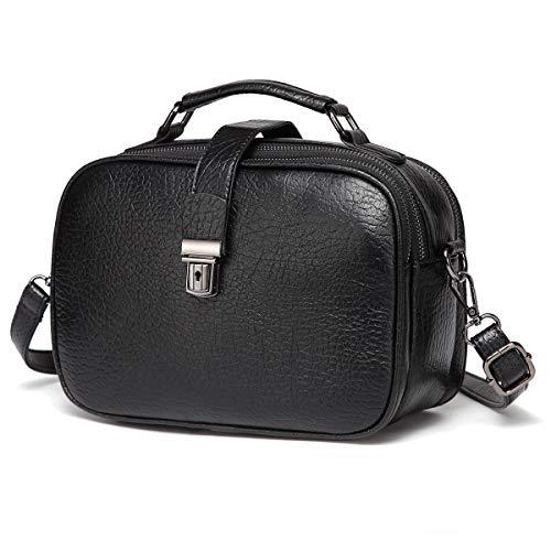 Kasgo Umhängetasche Damen, Mode PU Leder Crossbody Bag Schultertasche Klein Handtasche für Frauen mit Abnehmbarem Verstellbarem Riemen Schwarz