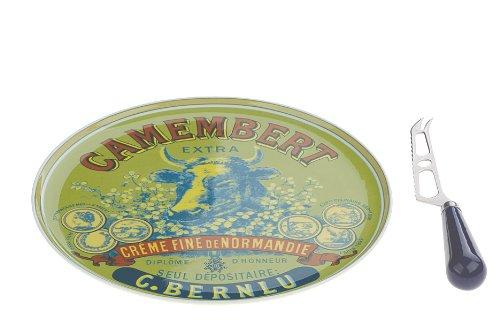 Bia DRH Käseplatte und Messer, Porzellan, Camembert und Kuhkopf, 1G+301CH