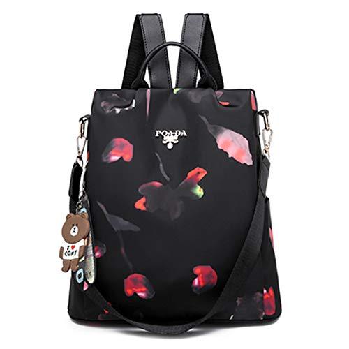 Damen Einbruchsicherer Rucksack Oxford Tuch Schultertasche Vielseitig Schulter-Schulter Dual Use Tasche Student Bag mit hängenden Bären Mode Handtasche