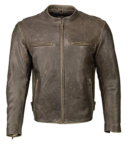 M Boss Motorcycle Apparel BOS11503 Men's Distress Brown Armored Leather Scooter Jacket with Armor - X-Large