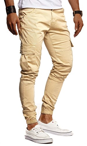 Leif Nelson Herren Hose Jeans Stretch Jeanshose Chino Cargo Chinohose Jogger Freizeithose Stretch Slim Fit LN9285; W33L32, Camel/Beige