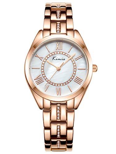 Alienwork Armbanduhr Damen Rose-Gold Edelstahl Metallarmband Silber Perlmutt-Zifferblatt Strass-Steinen Ultra-flach dünn