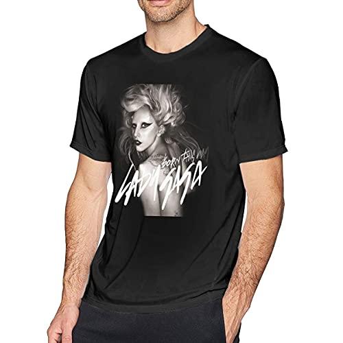 Shenguang Lady Gaga Born This Way Camiseta de Moda para Hombre Negra