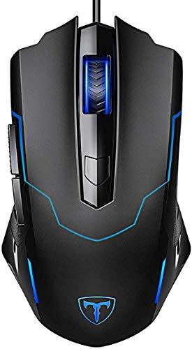 Holife USB Gaming Maus, Gamer Maus Optische Gaming Mouse mit 3200 DPI/4 Einstellbare DPI/6 Tasten/ 1.6m USB Kabel für PC Pro Gamer Spieler, Windows XP/Visa/7/8/10 (Schwarz)