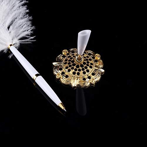 Shanrya Bolígrafo de Firma, Elegante bolígrafo de Ceremonia, Boda para casa, Sala de Estar, Oficina, casa(Oro, Azul)