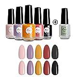 Lacomchir Esmalte de Uñas de Secado Rápido 6 Colores x 8 ml - Mate 5 colores y Brillante 2 en 1...
