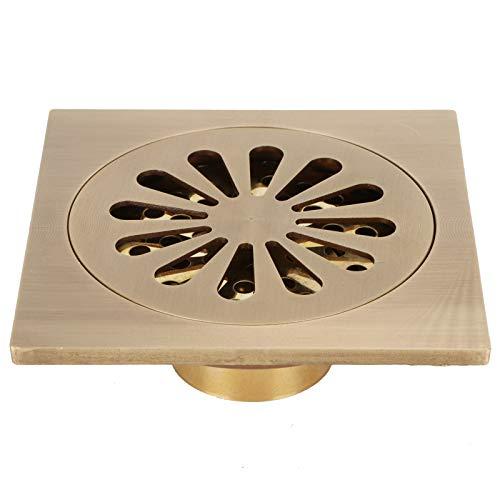 Minglin Drenaje de ducha cuadrado, estilo europeo antiguo cobre juego de drenaje de piso con filtro de draga poroso y alto accesorio de baño