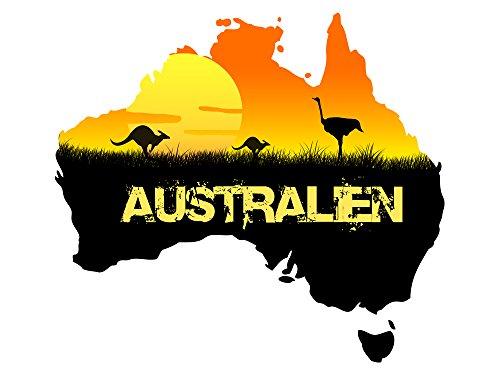 GRAZDesign Wandtattoo Tiere, Türaufkleber Australien, Dekoration Wohnung modern Landkarte / 33x30cm