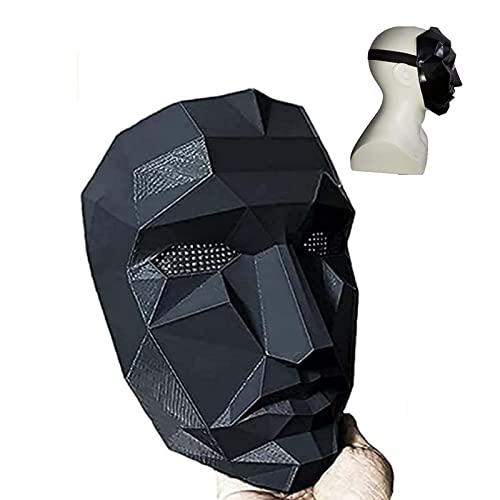 Mscara de juego de calamar para hombre enmascarado, jefe del asesino de la prisin, pelcula de juego de calamar para cosplay de cara completa, accesorios de disfraces de Halloween