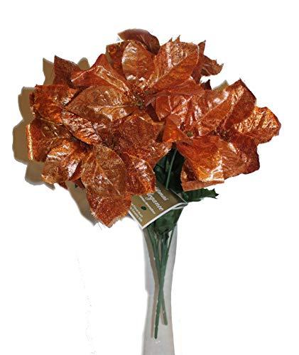 Set of 2 14' Sparkling Christmas Bush with Artificial 6' Poinsettia Flowers (Orange Copper)