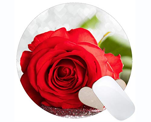 Yanteng Gaming Round Mouse Pad Custom, Red Rose Heart defocused Rose Flower - Stitched Edges