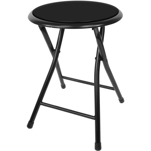 Trademark Home Folding Stool – Heavy Duty 18Inch Collapsible Padded Round Stool with 300 Pound Capacity for Dorm Rec Room or Gameroom Black