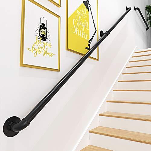 Gorssen Main Courante pour Escalier Intérieur Extérieur Mur Balustrade de Rampe de Pied Garde-Corps de Support Poignée Rambarde de Sécurité - Kit Complet - Métal Fer Forgé Noir,240cm