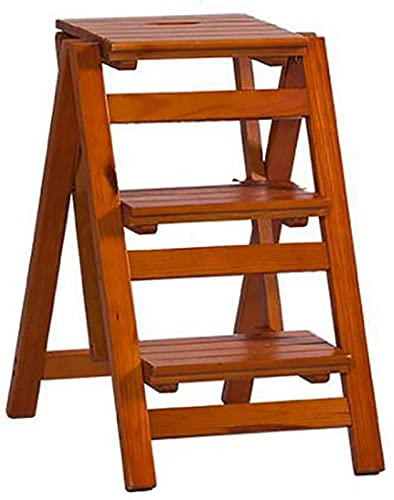 Flower Stand Plant Rack Step Stool Solid Wood Flower Stand Household Ladder Folding Ladder Shelf Wooden Ladder Multifunction Indoor Household Small Ladder (Color:B) Display Stand Home Decor