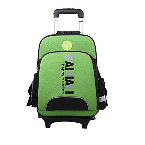 YAAGLE Sicherheit Teleskopgriff Kinder Rucksack Trolley-Tasche mehrfarbig Damen und Herren Unisex 1-6 Klasse Schulrucksack Reisetasche-grün